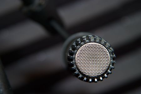 crosshatch: A close-up shot of a microphone head Stock Photo