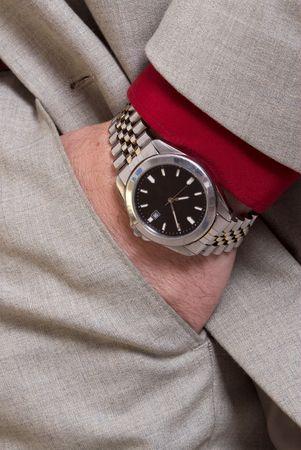 mans watch: El hombre con la mano de un reloj