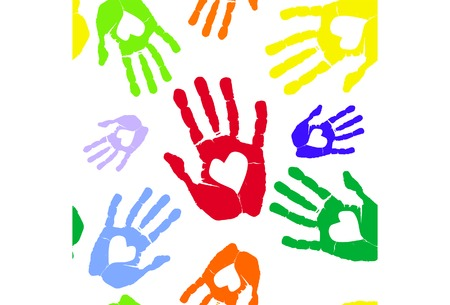 Multi-coloured prints of hands with heart Illustration