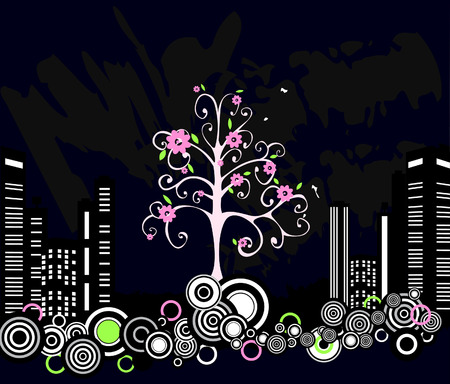 Tree in a dirty city Vector