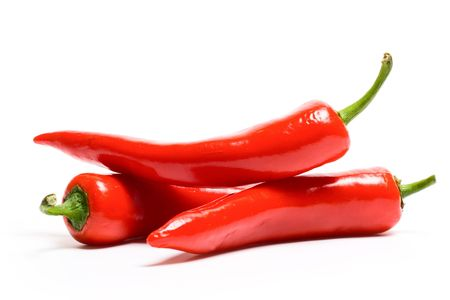 red chili: Red hot chili peppers on white background
