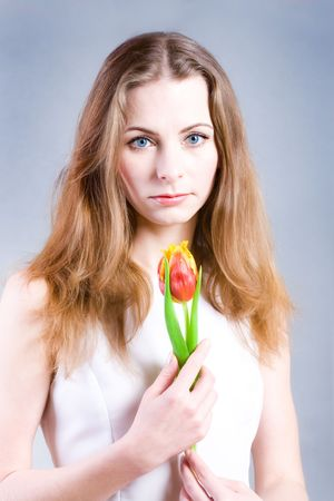 Beautiful young woman holding red tulip Stock Photo - 6637736