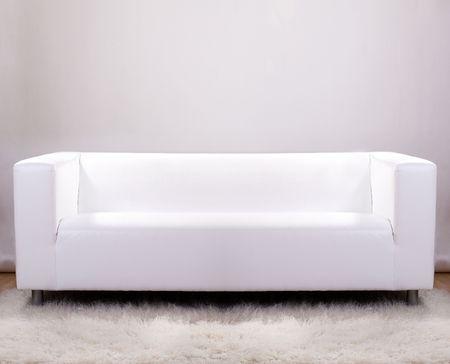 divano: Divano in pelle bianca