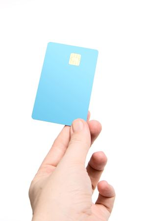 Hand with credit card isolated on white (focus on card) Stock Photo