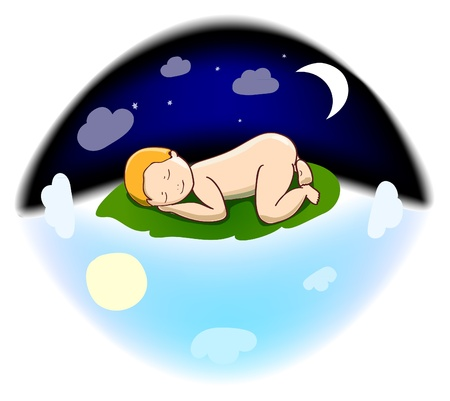 Sleeping baby in the sky. vector illustration Vector