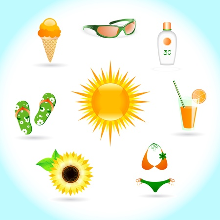 lotion: Set of icons on a theme Sun Summer and Beach Illustration