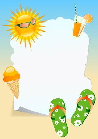 Summer theme vertical blank board Stock Vector - 14075537