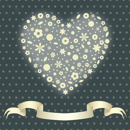 Valentine illustration  heart of flowers Vector