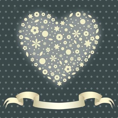 Valentine illustration  heart of flowers Stock Vector - 15807236