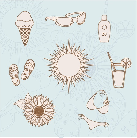 set of icons on the summer theme Vector