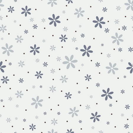 Seamless pattern with beautiful gray flowers.  Stock Vector - 15834565