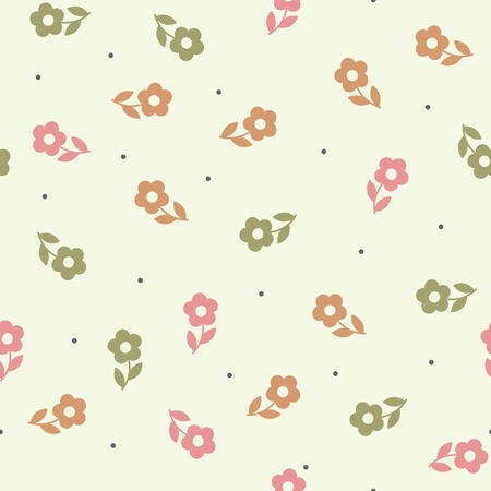 Seamless  pattern with beautiful green pink and orange flowers Stock Vector - 15854409