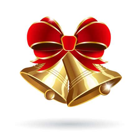 campanas: Jingle bells con arco rojo sobre un fondo ilustraci�n vectorial blanco Vectores