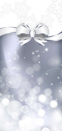 shine silver: White bow  on a shines silver and white background. Vector illustration