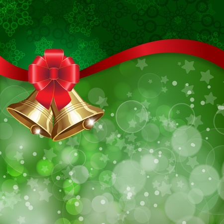 snow wreath: Jingle bells with red bow on a shines background.illustration