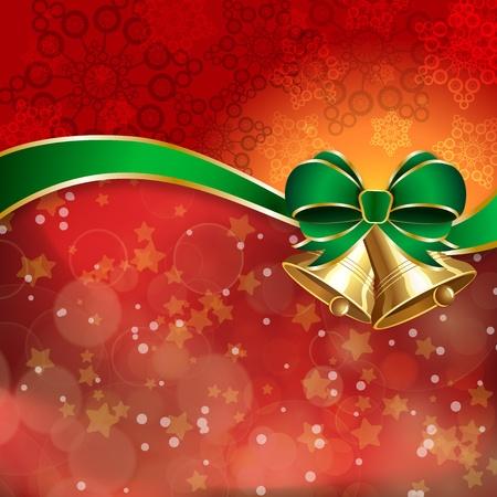 campanas de navidad: Jingle bells con el arco verde en un fondo brilla. ilustración