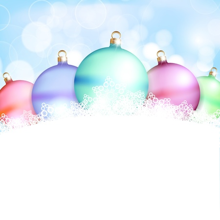 Christmas balls and blue abstract background. Vector illustration Stock Vector - 16407291