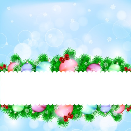 Christmas balls and blue abstract background Stock Vector - 16489627