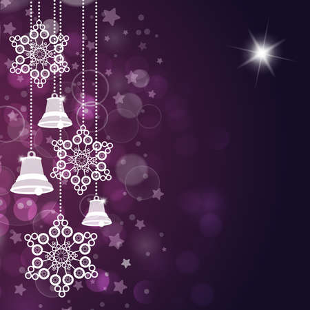 Violet christmas background with bells and stars. Vector Vector