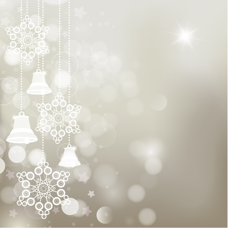 silver bells: Silver christmas background with bells and snowflakes. Vector
