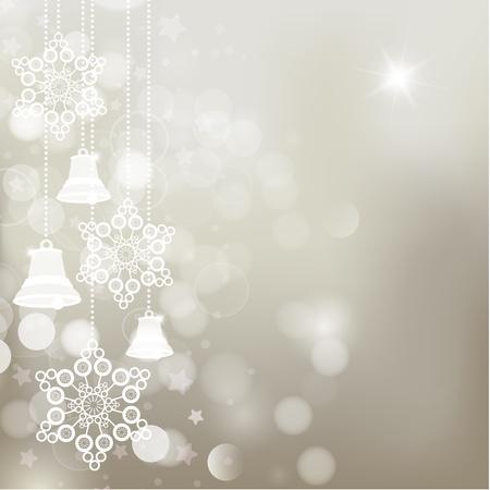 campanas de navidad: Silver navidad de fondo con copos de nieve y las campanas. Vector Vectores