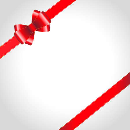 Red ribbon bow on shined background  illustration Vector