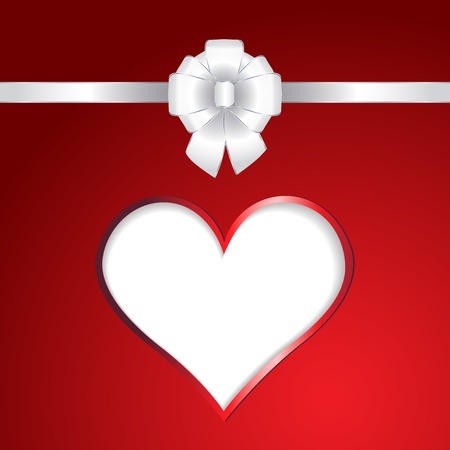 White heart and ribbon bow on red background  illustration Stock Vector - 16654563