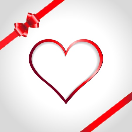 Heart and red ribbon bow on a background  Vector illustration Vector