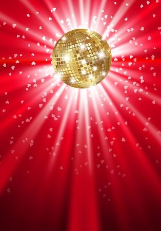 retro disco: Oro que brilla intensamente bola del disco en una luz. Vector Vectores