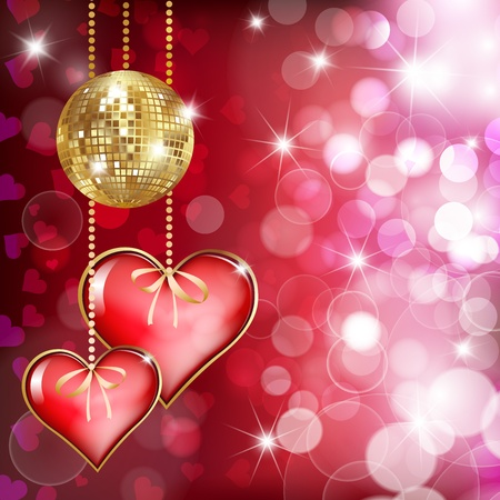 Two  hearts and gold disco ball on ped background with bokeh Vector