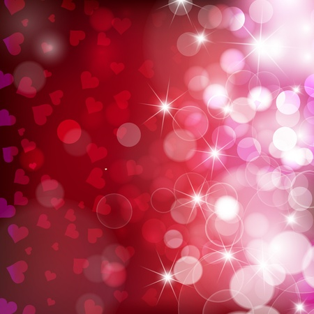 Festive red background with hearts bokeh and glares. Vector