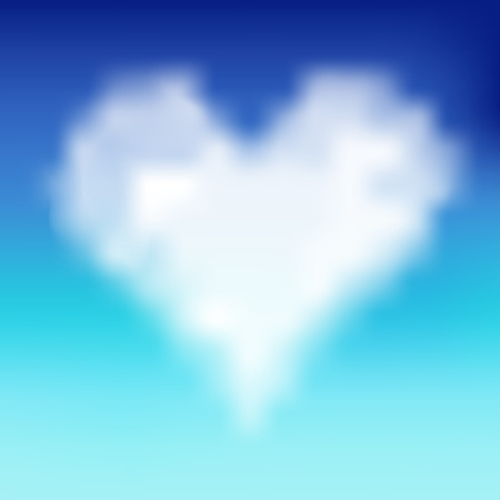 Heart shaped cloud in the blue sky. Vector illustration Vector