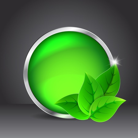 Green glass button with leaves on a black background Stock Vector - 16759735
