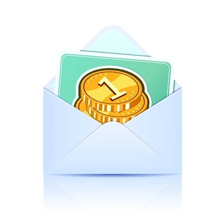 Envelope with paper card. Concept of email  Stock Vector - 16988905