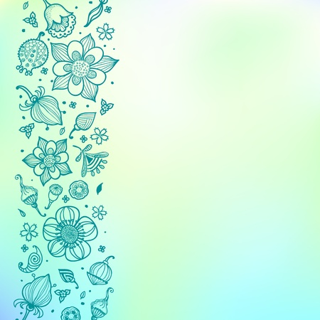 Bright green floral  pattern with doodle flowers. Stock Vector - 17119544