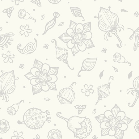 Seamless pattern with beautiful gray flowers. Vector Stock Vector - 17310070