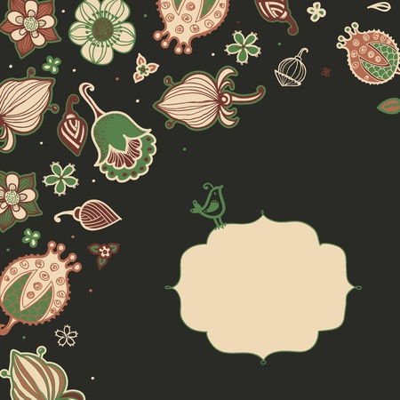 Floral background with frame for your text. Vector background Stock Vector - 17569553