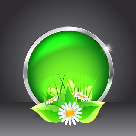 Green glass button with flowers on a black background Stock Vector - 17965155