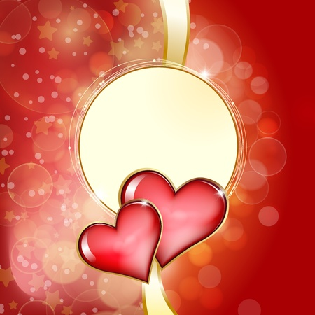 Two glass red hearts on red background with bokeh. Vector Vector