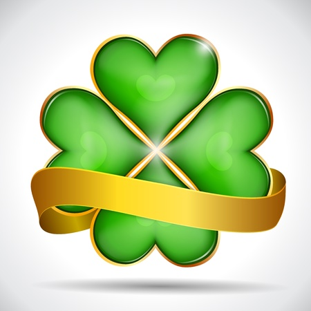 Clover leaf & gold ribbon, vector illustration for St. Patrick's day Stock Vector - 18287463