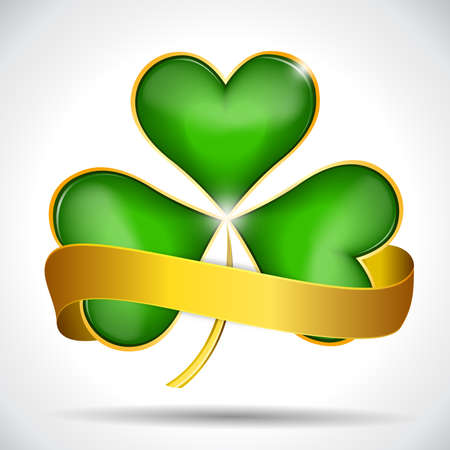 Clover leaf   gold ribbon Stock Vector - 18348303