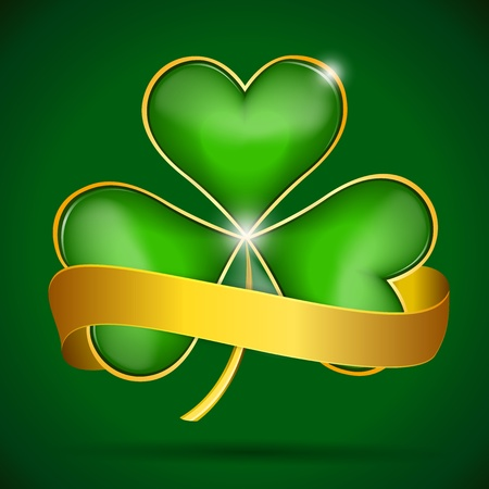 Clover leaf   gold ribbon Stock Vector - 18348294