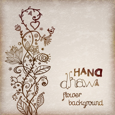 doodle frame: Hand drawing floral background brown tones illustration