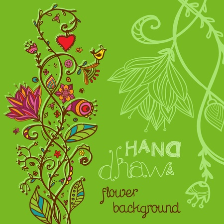Hand drawing green floral background  Vector illustration Vector