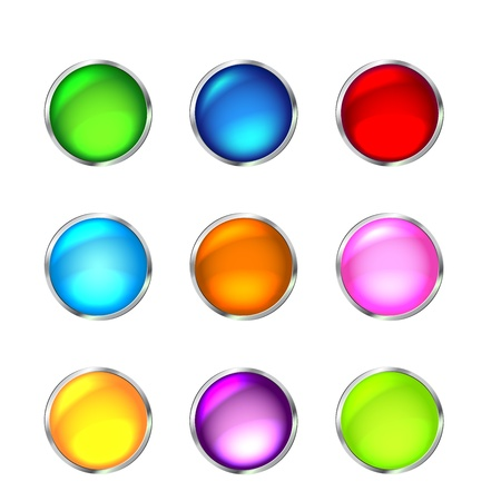 reflection internet: Set of glossy button icons for design.  illustration Illustration
