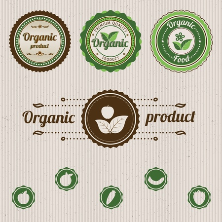 Set vintage organic labels.  illustration Vector