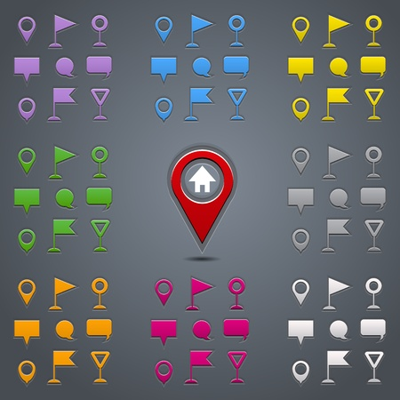 blank road sign: Navigation pins collection. Colorful set. Vector illustration Illustration