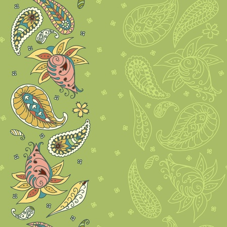 Seamless floral pattern abstract flowers, paisley decoration illustration Illustration