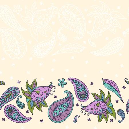 mhendi: Seamless floral pattern abstract flowers, paisley decoration illustration Illustration