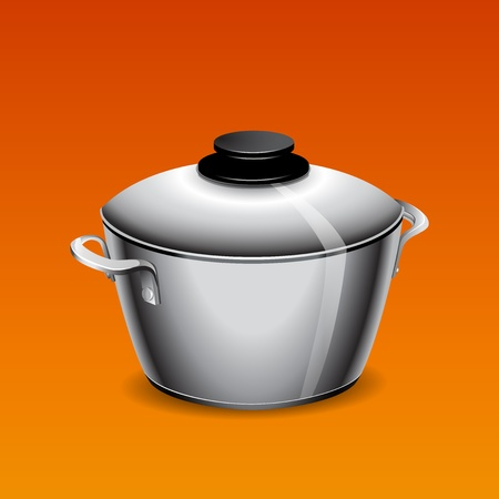 ladle: A stainless pan isolated on a orange background Illustration  Illustration